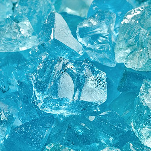 - Blue Fire Glass for Indoor and Outdoor Fire Pits or Fireplaces | 10 Pounds | Teal Lagoon Crushed Fire Glass, 1/2 Inch - 3/4 Inch