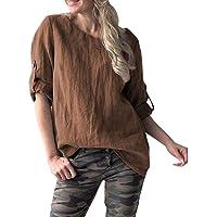 7da938709f4c TWGONE 1 2 Sleeve Shirts for Women Plus Size Solid O-Neck Loose Vintage