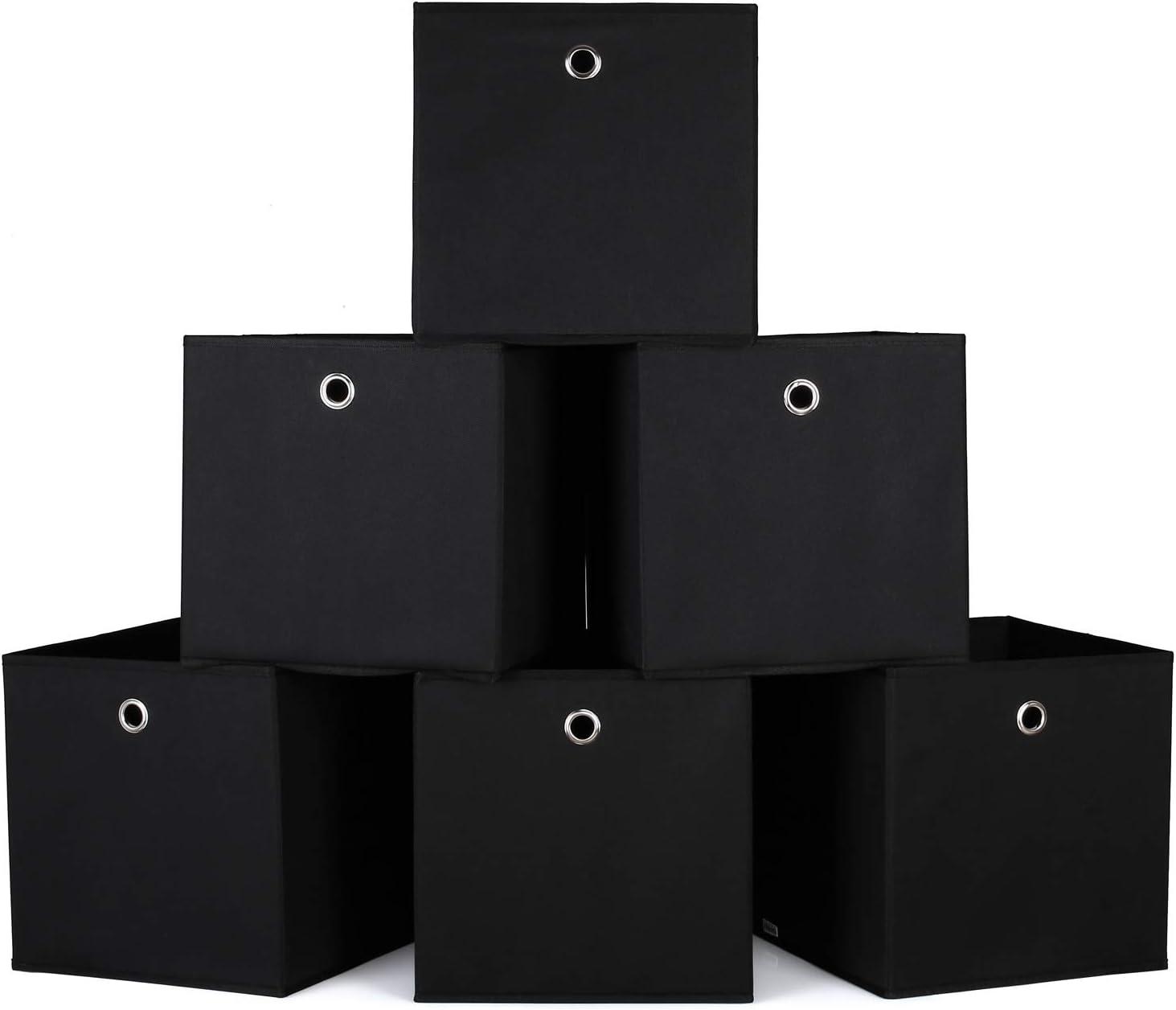 Fischgr/ätenmuster Grau mit Ledergriffe Und Etikettenhalter homyfort 4er Set Faltbare aufbewahrungsboxen stoffbox faltbox 33 x 38 x 33 cm XROB38P4