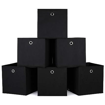 Homfa Organizador de Cajones Baúl para Juguetes Juego de 6 Cajas para Almacenamiento 27L 30x30x30cm