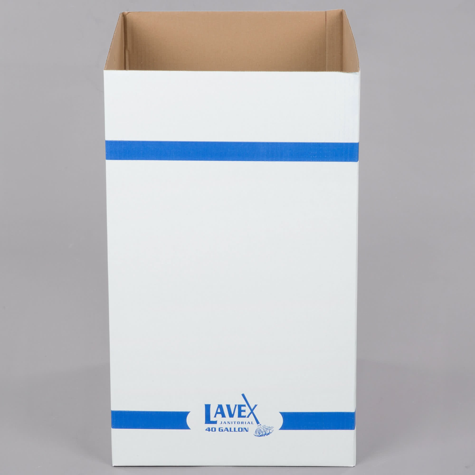 TableTop King 40 Gallon White Corrugated Cardboard Trash and Recycling Container - 2/Pack