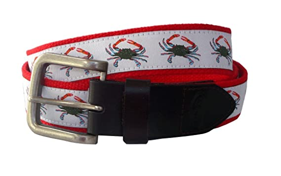 3962a1e14488e No27 Men's Blue Crab Leather Belt, Blue Crab Ribbon on Red