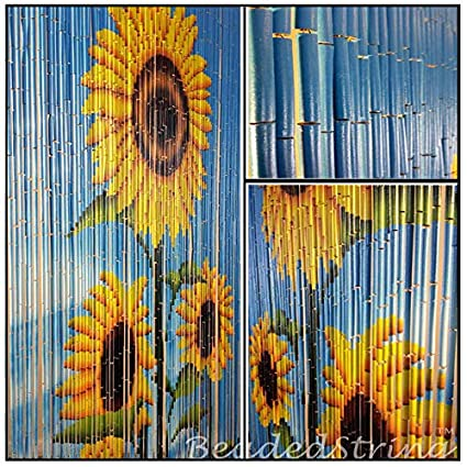 Com Beadedstring Bamboo Wood Beaded Curtain 90 Strands 80 In 6 Ft High Bohemian Doorway Beads Sunflower Home Kitchen