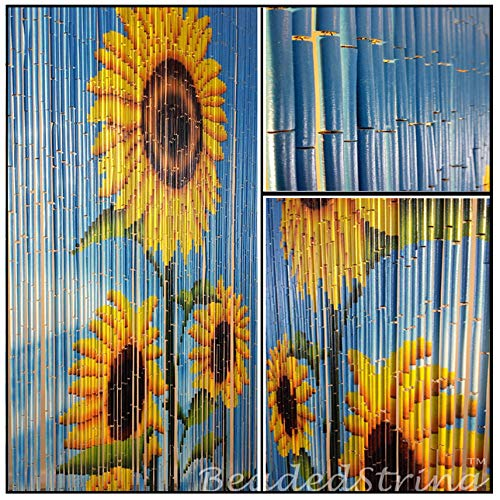 BeadedString Bamboo Wood Beaded Curtain-90 Strands-80 in (6.6 ft) High-Bohemian Doorway Beads-Sunflower (Doors Beaded)
