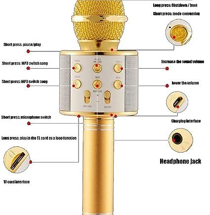 Amazon com: JAKROO Portable Wireless Karaoke Microphone, Music