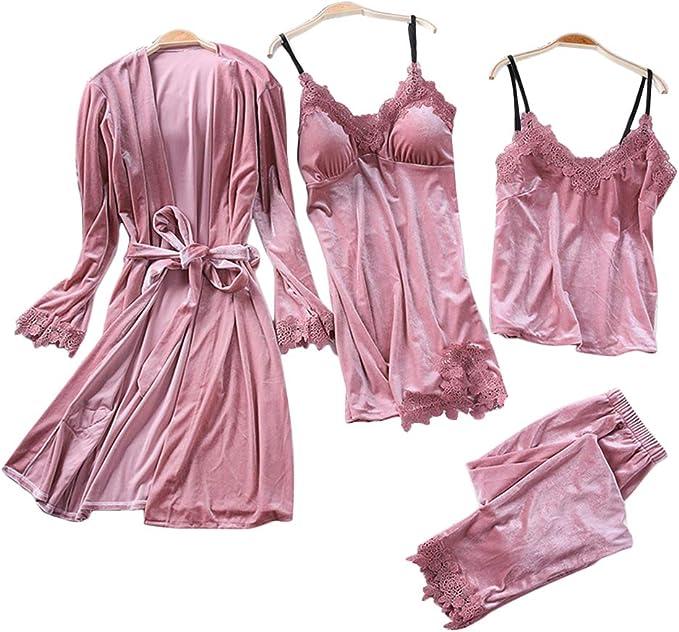 Conjunto de pijama para mujer, 4 piezas, otoño, invierno, sexy ...