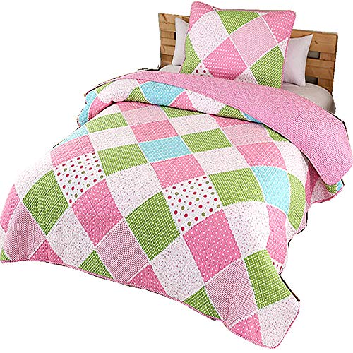 Lighting_time Pink Quilt Set Cake Pattern Comforter Cotton Patchwork Floral Bedspreads for Girls Kids, Cotton Twin 2 Pieces