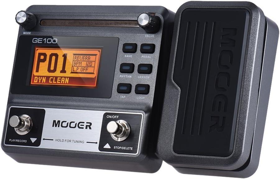 Muslady MOOER GE100 Multi-efectos de Guitarra pedal de Efectos del Procesador con la Grabación en Bucle (180 segundos) Sintonía Rhythm Tap Tempo Ajuste de Escala y del Acorde Funciones de Lección