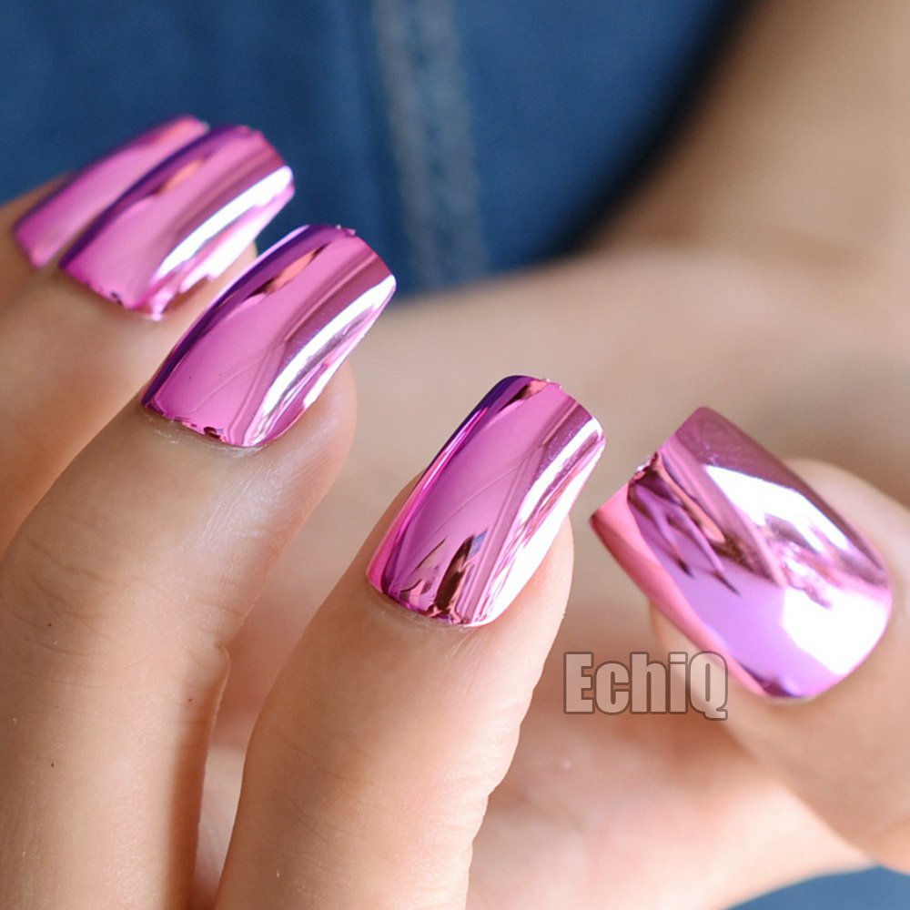 CoolNail Sexy Fashion Hot Pink Rose Metal Fake Nails Plate Punk Style Metallic Long False
