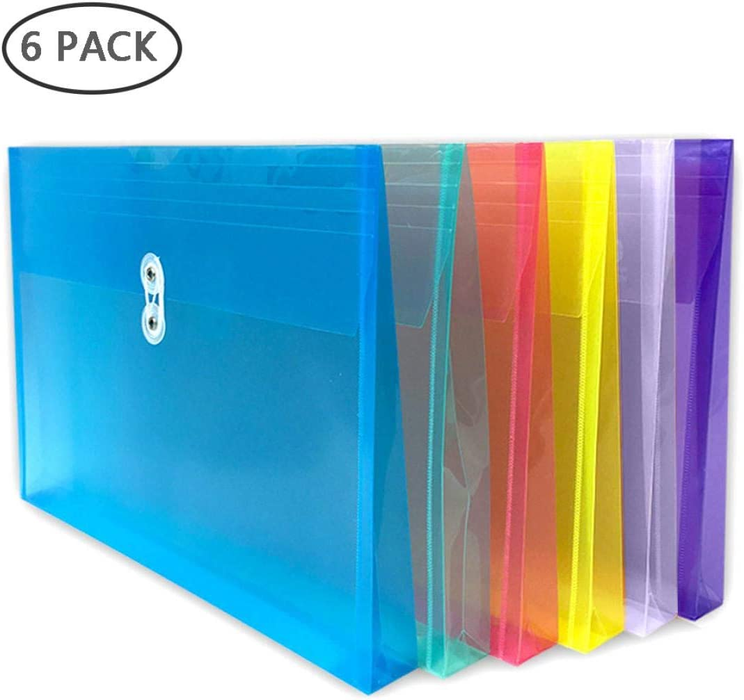 TIENO 10 Legal Plastic Envelopes with String Closure Clear Top Loading File Folders Business Document Organizer Blue