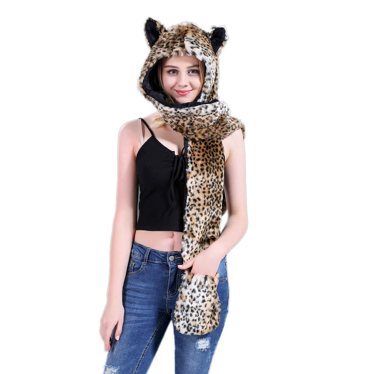 Unisex Winter Faux Fur Hoodie Hat Cute Animal Paw 3 in 1 Function Scarf and Gloves
