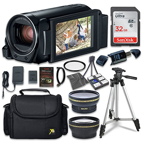 Canon VIXIA HF R800 Camcorder with Sandisk 32 GB SD Memory Card + 2.2x Telephoto Lens + 0.42x Wideangle Lens + Extra Accessory Bundle by Canon
