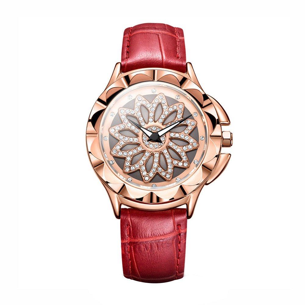 Women Watches for Sale,2019 Summer Deals! Women Rotation Dress Watch Leather Band Big Dial Bracelet Wrist Watch(Red)