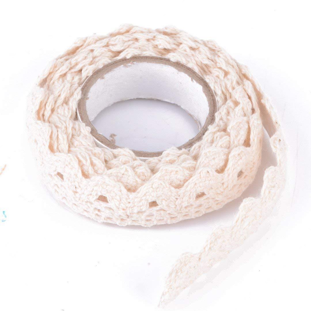 Yevison Adhesive Lace Washi Tape Trim Ribbon Cotton Fabric Tape Decor Craft Cream Durable and Practical