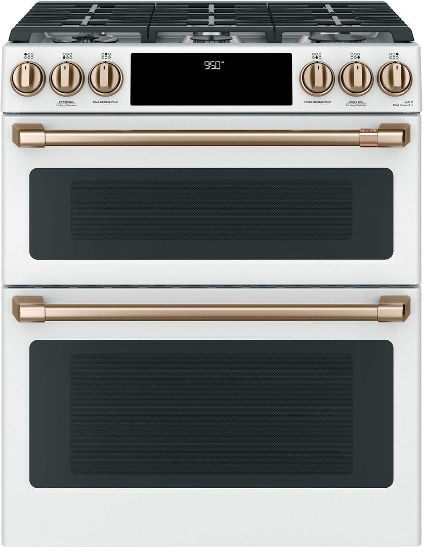 Cafe Matte Collection Series 30 Inch Slide-in Dual Fuel Range with 6 Burners, Sealed Cooktop, Double Ovens, 4.3 cu. ft. Primary Oven Capacity, in Matte White