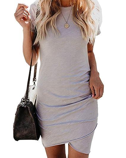 9a03d5059e Ecolley Women's Crew Neck Dresses Casual Short Sleeve Dress Fashion  Stretchy Bodycon T Shirt Dress
