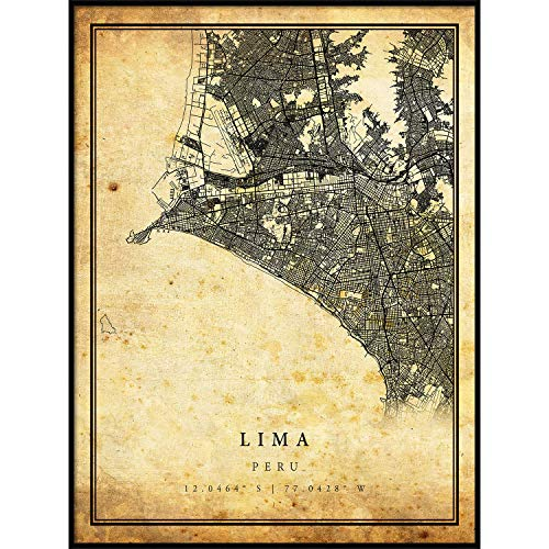 (Lima map Vintage Style Poster Print | Old City Artwork Prints | Antique Style Home Decor | Peru Wall Art Gift | Vintage map Reprint 16x20)