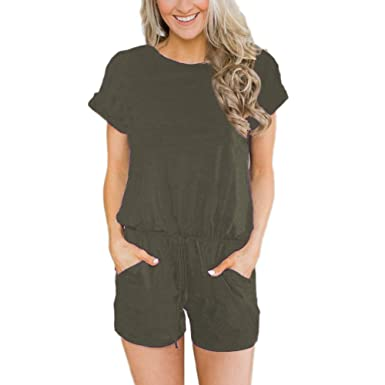 Sobrisah Womens Casual Short Sleeve Striped Drawstring Waist Comfy Long Overalls Jumpsuit with Pockets