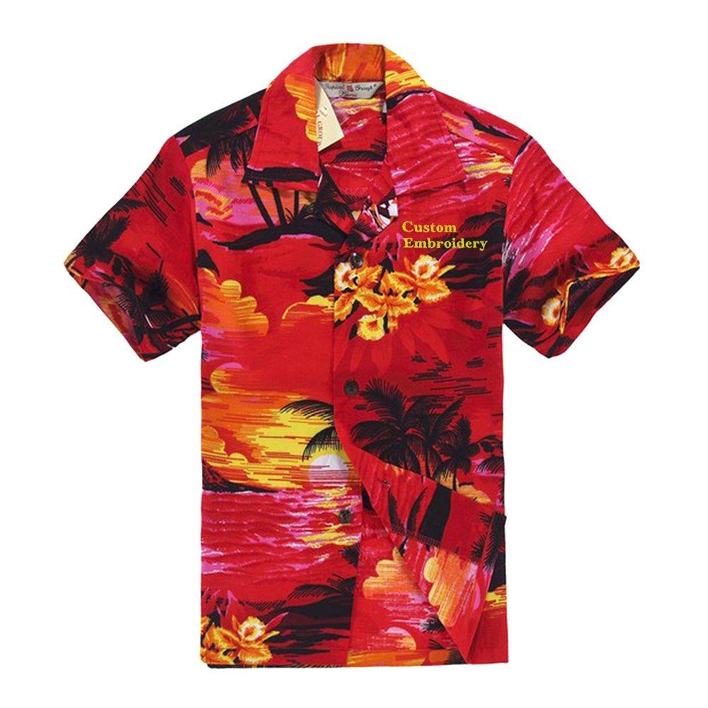 Boy Hawaiian Shirt or Cabana Set in Red Sunset
