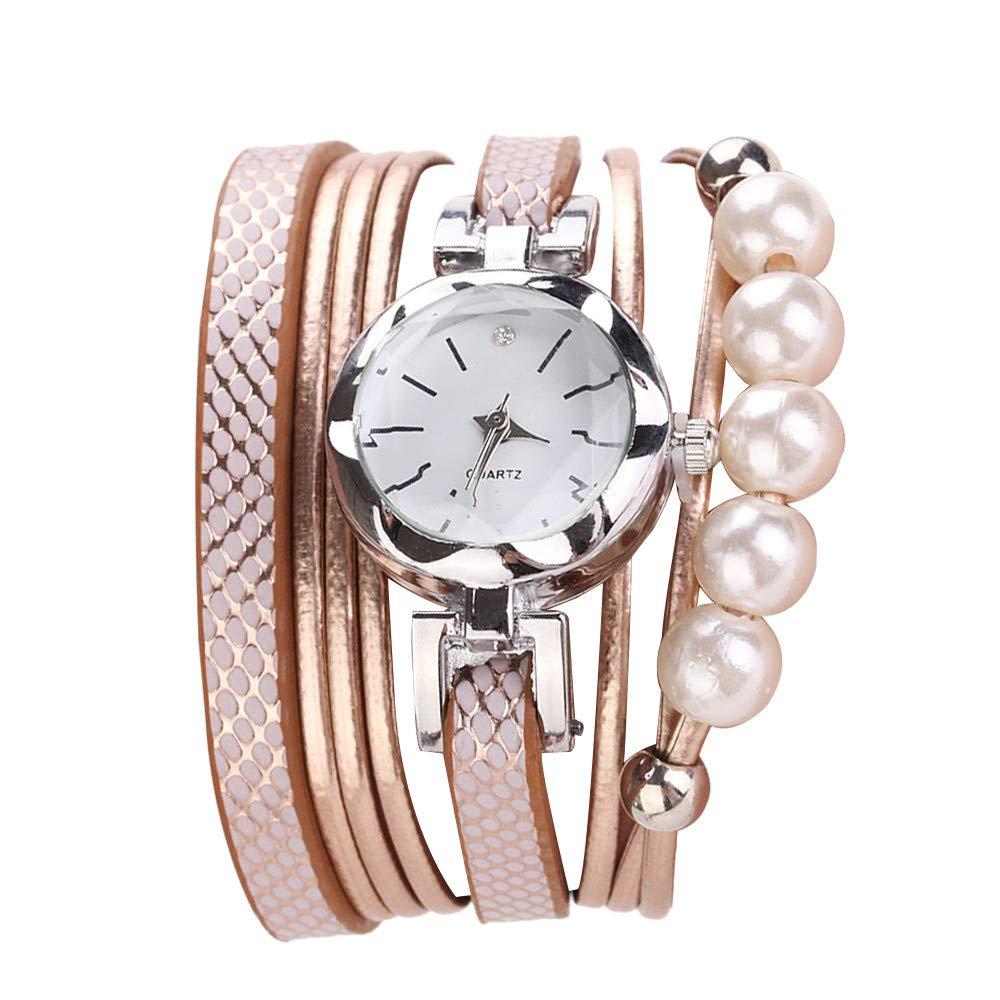 Women Quartz Watch,Lovewe CCQ Women Fashion Casual Analog Quartz Women Rhinestone Pearl Bracelet Watch (F)