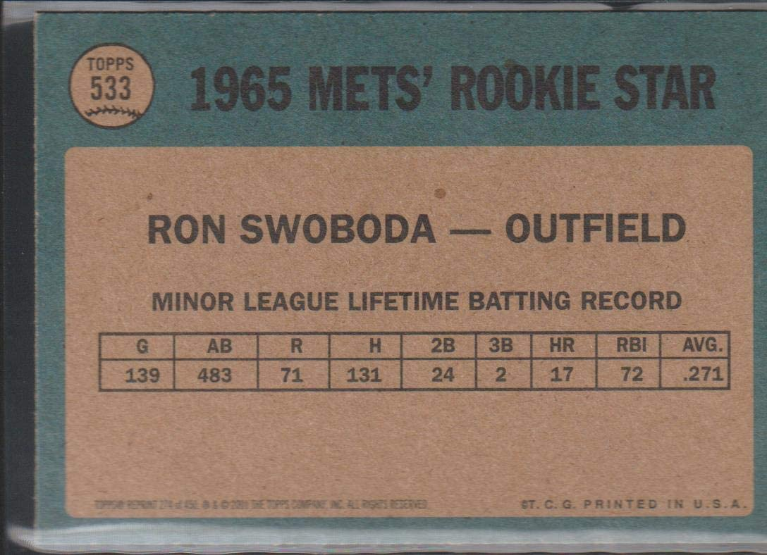 2001 Topps Archives Baseball #274 Ron Swoboda New York Mets 1965 Official Retro Themed Trading Card From The Topps Company