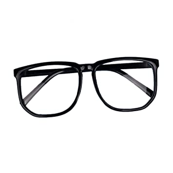 ad9d68afd6db Amazon.com : Hotportgift Large Geek Glasses Clear Lens Square Party Fancy  Dress Big Nerd Men Women (black) : Beauty