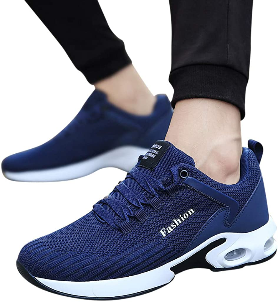 Nadition Man Stylish Sneakers,Leisure Men Lace Up Flat Platform Running Spots Shoes Non-Slip Breathable Light Sneakers