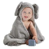 Toalla con capucha de elefante de peluche de algodón BabyPlix color gris cartón para bebé recién nacido o niño pequeño, 75cm x 75cm
