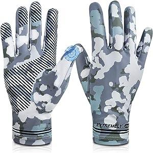 Cycling Fishing Gloves,UV Protection Full Finger Touch Screen Cooling Gloves UPF50+ Sun Gloves,Non-Slip Gym Gloves for Kayaking,Hiking,Paddling,Fitness,Climbing,Workout,Driving,Golf(Men & Women)