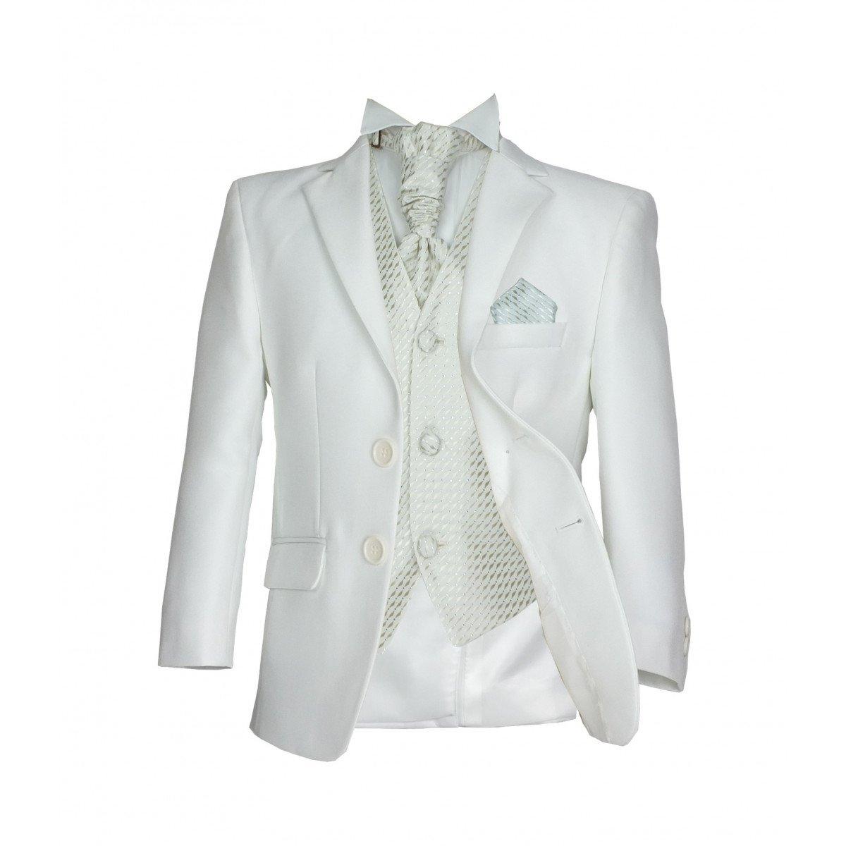 SIRRI - Completo formale da cerimonia per paggetto, adatto per matrimoni e balli studenteschi, 5 pezzi, con cravatta di colore bianco avorio
