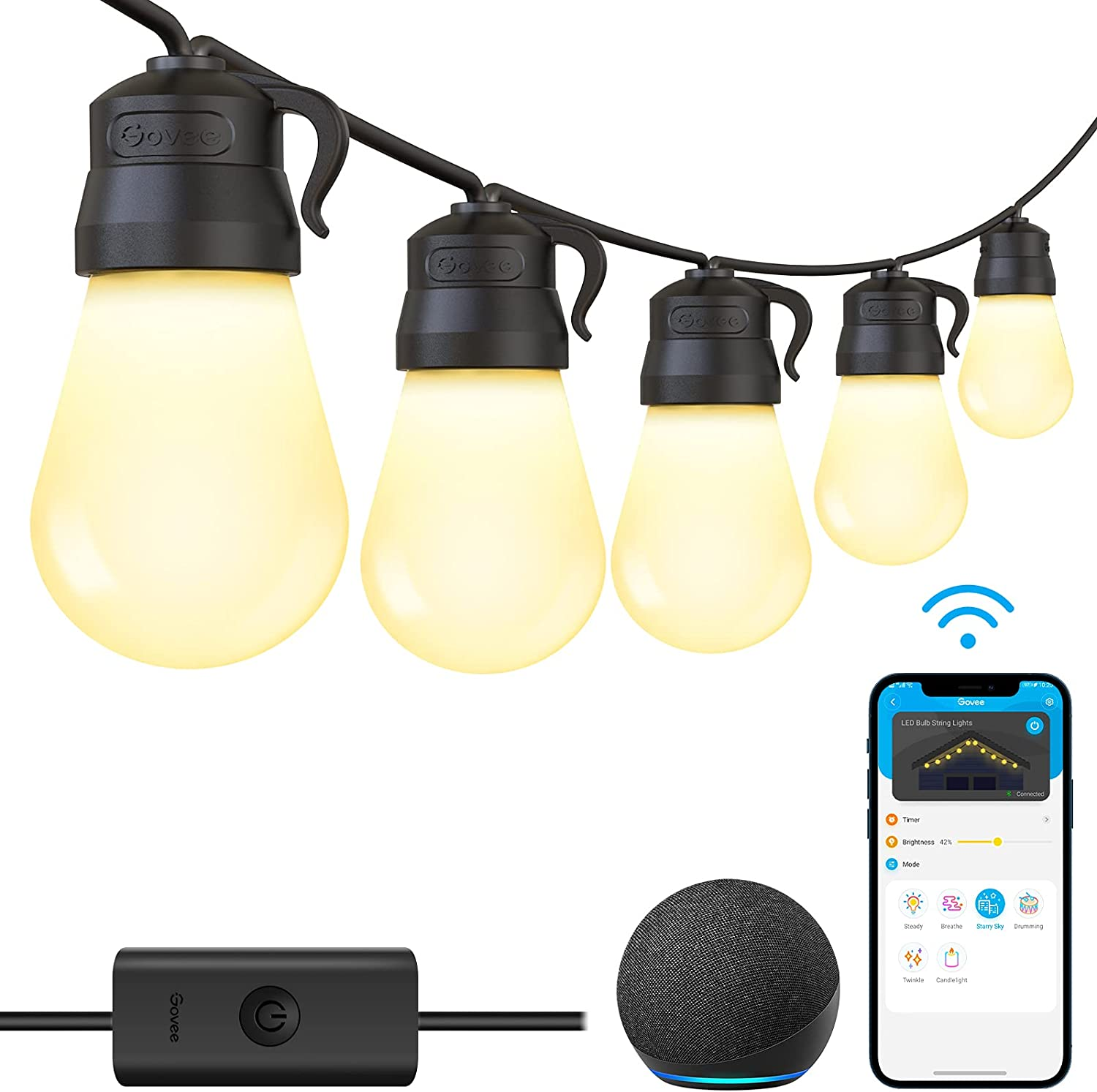 Govee 48ft Smart Wi-Fi Outdoor String Lights with Bluetooth App Control, Patio Lights Work with Alexa Google Assistant, 15 Dimmable Warm White LED Bulbs for Patio Decor, Waterproof and Shatterproof
