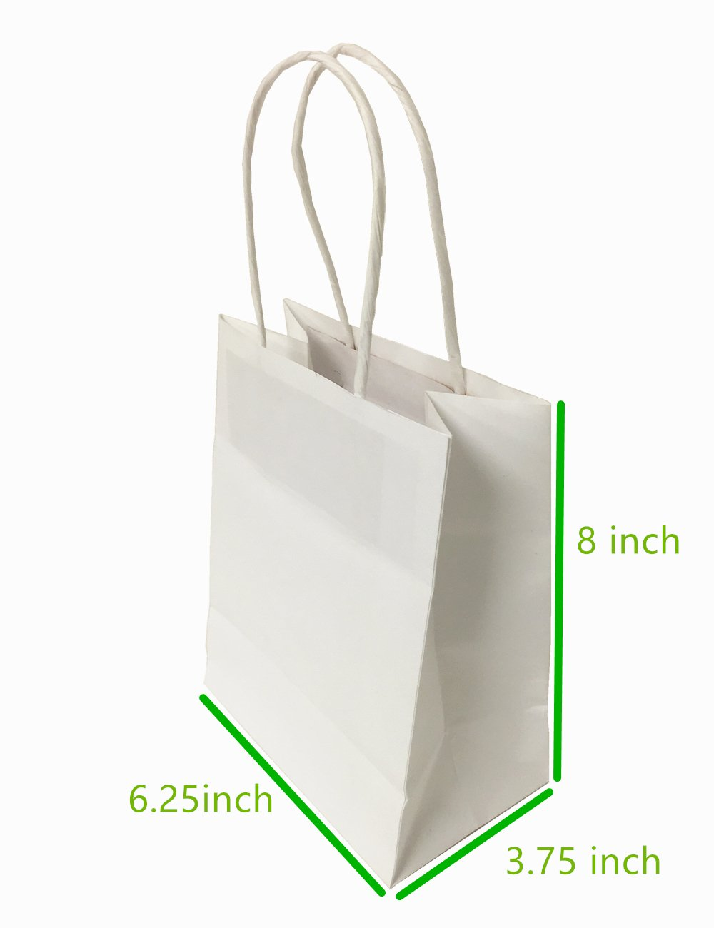 Metrogalaxy 6.25''X3.75''X8'' Small Kraft Paper Bags, Party Bags, Shopping Bags with Handles, Color: White Bags, 50PC