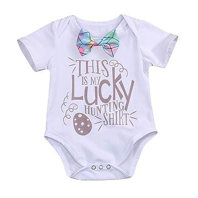 3553af1b8 YOUNGER TREE Baby Boy Girl Easter Outfit Easter Egg Hunting Onesie Bodysuit  Romper (0-