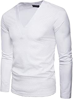Sweatshirts Leisure and Comfortable Men's Pure Color Large Body Gauze V Collar Long Sleeved T-Shirt Sweater