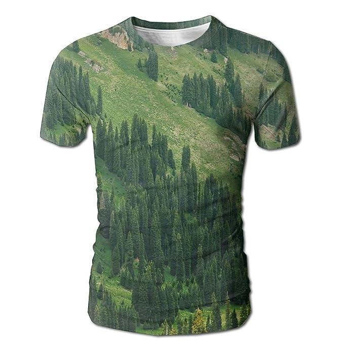 a509baa6 DIMANNU Men's 3D All Over Print T Shirts Trees Hill Green Design Summer  Casual Short Sleeves