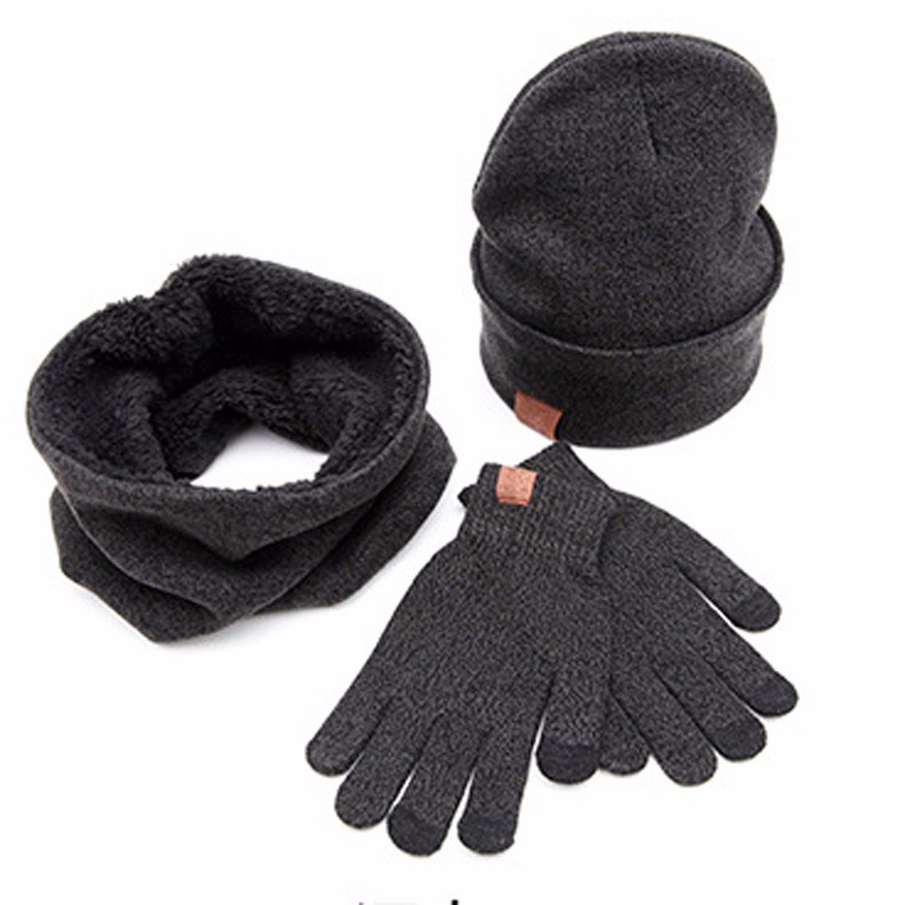 uBabamama Soft Knit Beanie Hat O-neck Scarf Gloves Set Best Gift for Friend Black Winter Warm 3pcs for Unisex Adults
