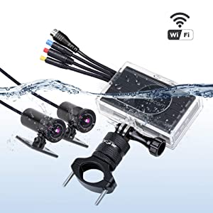 VSYSTO Motorcycle Dash Cam WiFi Dual Waterproof cameras Full HD 1080P SONY IMX323 Front and Rear View 170° Wide Angle Action Camera Recording System, 3.0'' LCD with Waterproof Case and Handlebar Mount