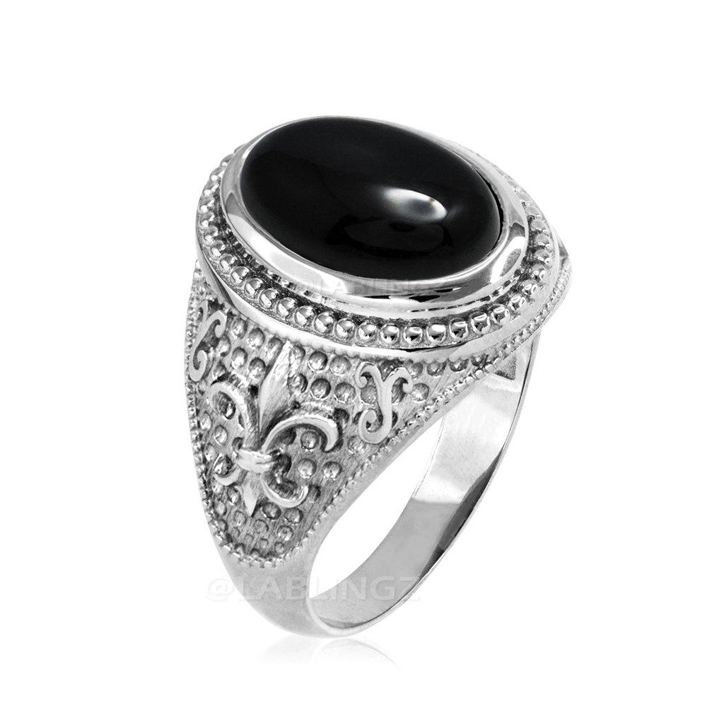 Sterling Silver Fleur-De-Lis Black Onyx Gemstone Ring (7.5) by Gemstone Rings by LA BLINGZ