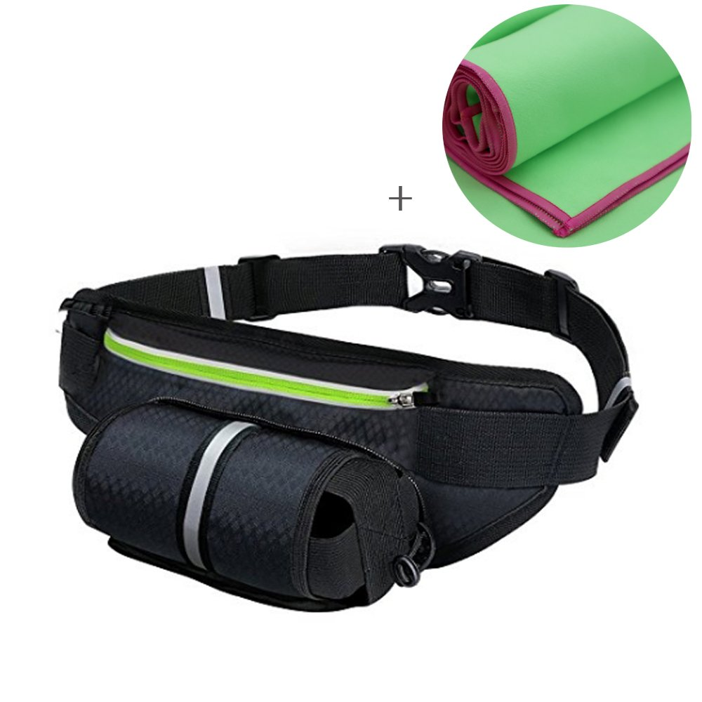 Aznrszy Fanny Pack with Water Bottle Holder, Running belt with Sweat Towel for Women Men IPhone 6S 8+ Galaxy In Walking Hiking Cycling Running