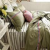 TideTex Classic Stripe Modern Style Bedding Set 4pc Fashion Teens College Dorm Duvet Cover Set Stripe Bed Skirt Simple Retro 100% Cotton Home Textiles (Full, Green)