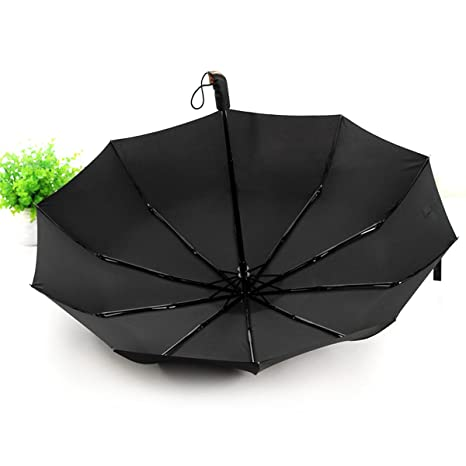 HQdeal Paraguas Plegable Automatico Negro Antiviento Grandes Paraguas de Viaje Sombrilla para Mujer Hombre Caballero Compacto