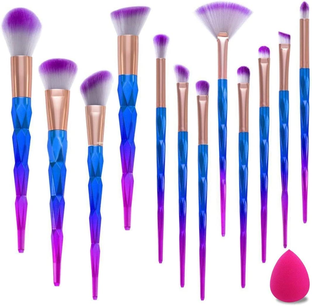 Brochas de Maquillaje,12pcs Maquillaje Profesional Pinceles Maquillaje de Ojos Rubor Contorno de los Labios Corrector Brochas Cosméticas