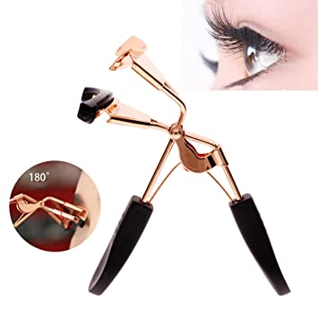 a318a177283 Amazon.com : 1 Pack Rose Gold Eyelash Curler Stainless Steel Eyelashes  Makeup False Eye Lash Curling Clip Tools Curlers Holder Lace Pretty Popular  Small ...