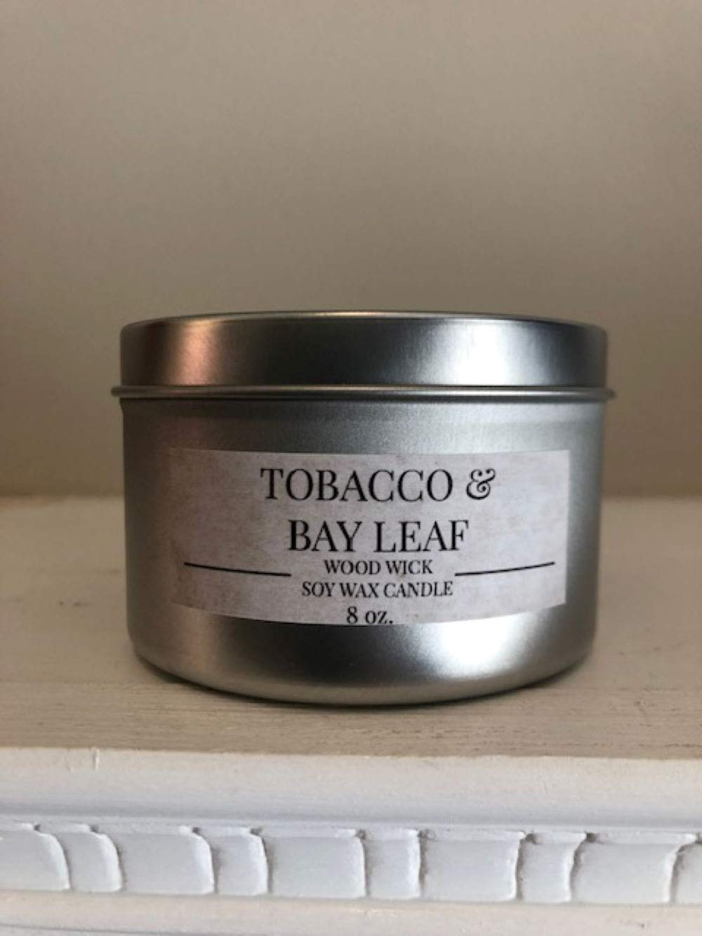 "TOBACCO & BAY LEAF Wood Wick Soy Wax Candle 8 oz.""Relax to the soft crackle of burning wood"""