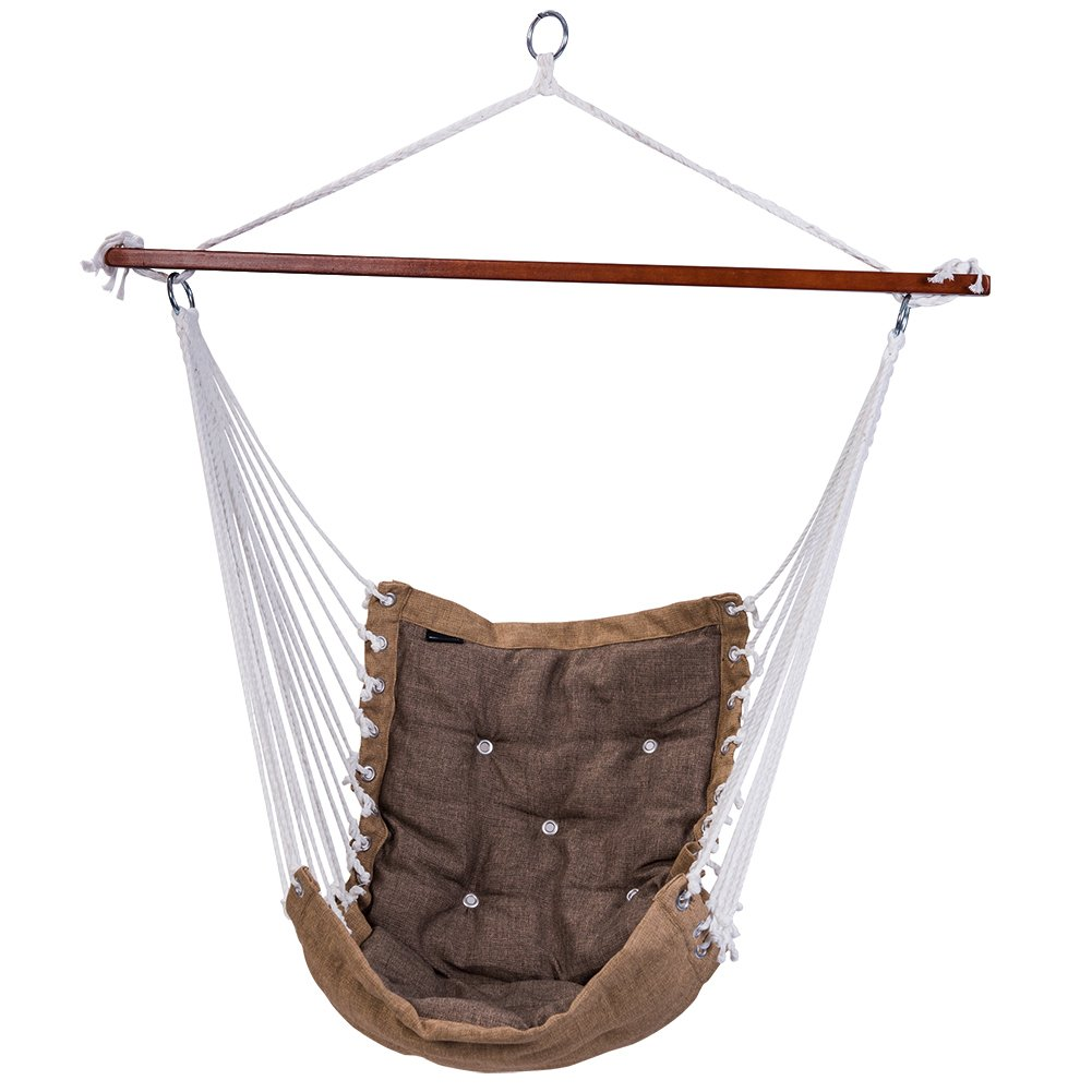 SUNMERIT Hanging Rope Hammock Chair Swing Seat, Large Cotton Swing Hammock Chair for Indoor Bedroom, Living Room, Porch, Outdoor Garden, Patio, Yard, Tree, 300 lbs Capacity Light Gray
