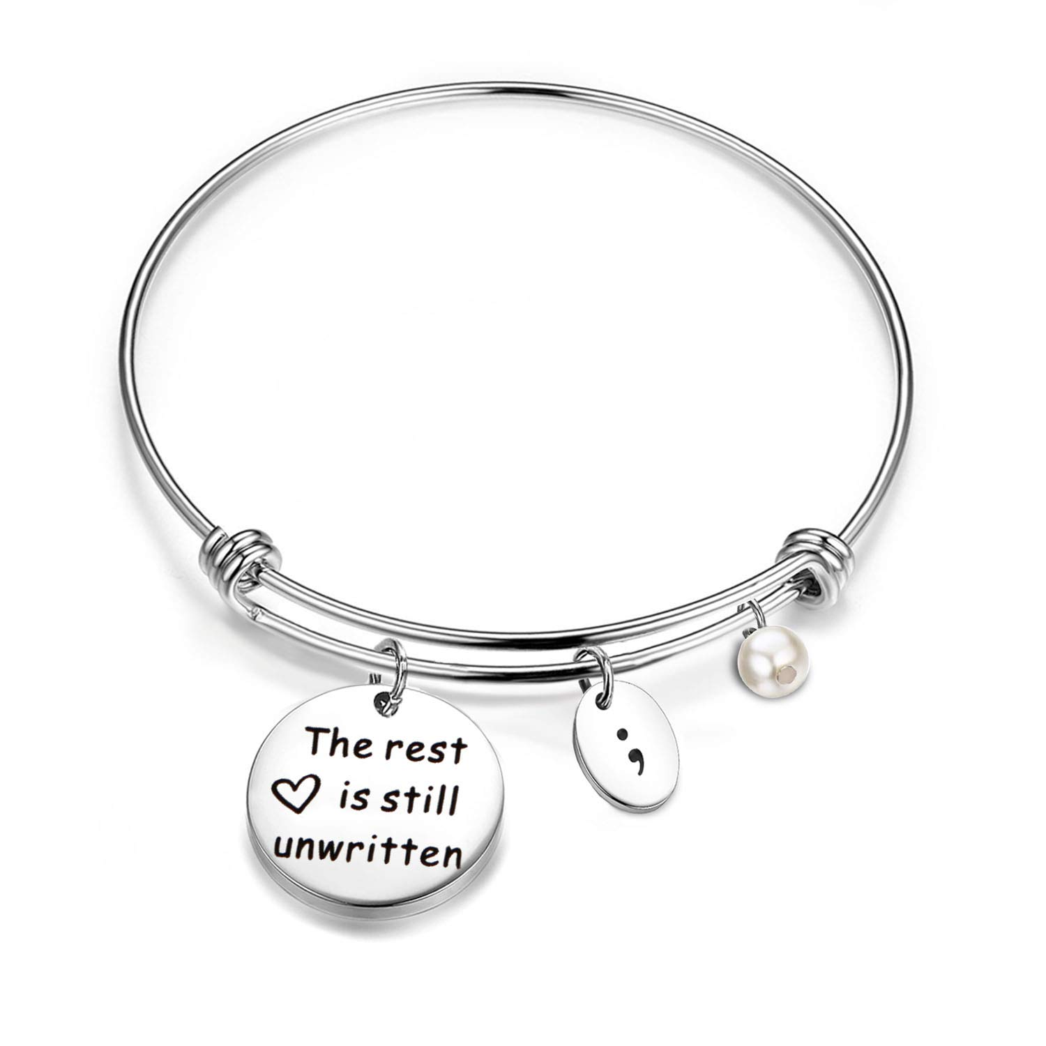 bobauna The Rest is Still Unwritten Semicolon Bracelet Mental Health Suicide Awareness Inspirational Jewelry B07GKDXSFY_US