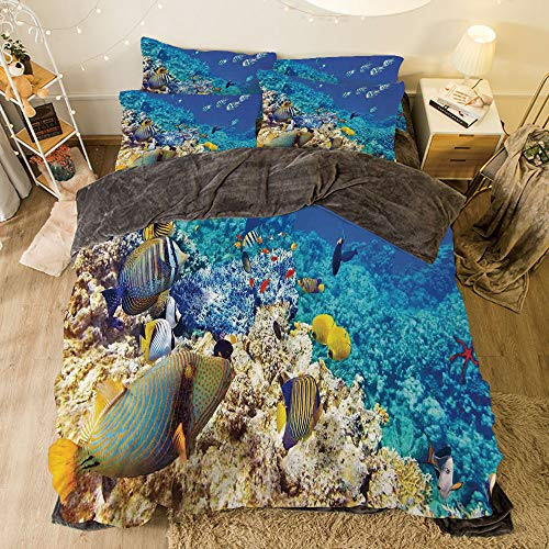 All Season Flannel Bedding Duvet Covers Sets for Girl Boy Kids 4-Piece Full for bed width 6.6ft Pattern by,Ocean,Clear Sea Animal World Corals Tropical Fishes and Starfish Egyptian Sea Image,Aqua Bl