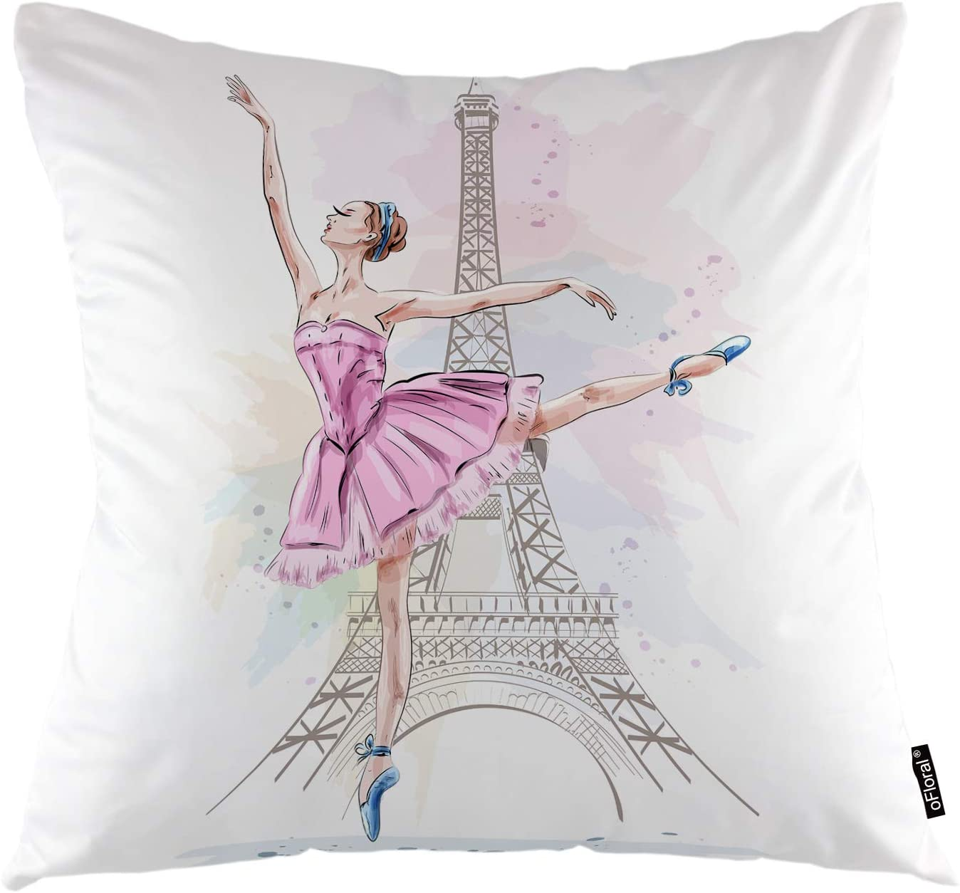 "oFloral Eiffel Tower Throw Pillow Covers Ballet Girl Dancer Paris Eiffel Tower Decorative Square Pillow Case 18""X18"" Pillowcase Home Decor for for Sofa Bedroom Livingroom"