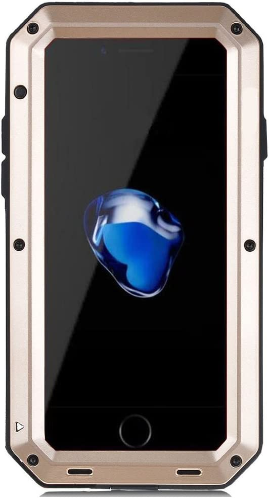 iPhone SE 2020 Case, iPhone 7/8 Case, CarterLily Full Body Shockproof Dustproof Waterproof Aluminum Alloy Metal Gorilla Glass Cover Case for Apple iPhone SE 2020 iPhone 7/8 4.7 inch - Gold