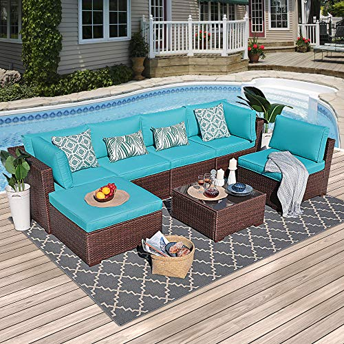 OC Orange-Casual Outdoor Furniture Set (7-Piece Set) Patio Conversation Rattan Wicker Sectional Sofa with Coffee Table & Seat Cushions | Garden, Backyard, Pool ()